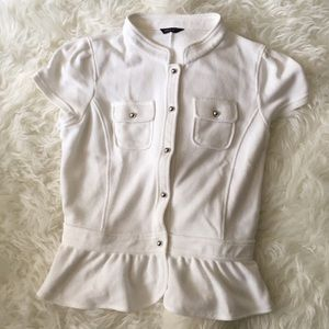 Comme Ca ism White Japanese Brand Peplum Top